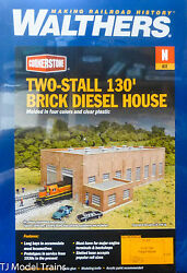 Walthers N 933-3266 Two-stall 130' Brick Diesel House -- Kit - 10-3/4 X 6-3/4 X