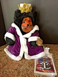 Rare Raikes Collector Royal Court King Bear1990- Handcarved Wood Face-new W/tags