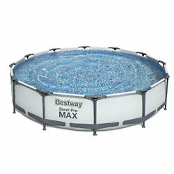 Bestway Steel Pro Max 12ft X 30in Frame Round Above Ground Swimming Pool W/ Pump