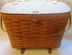 1987 Longaberger Magazine Or Picnic Basket W/ Handle, Footed Stamped / Initialed