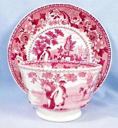 Antique Pink Transferware Cup And Saucer The Sower Handleless Planting Seeds