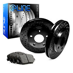 For 2007-2010 Volvo S80 Rear eLine Black Drilled Brake Rotors+Ceramic Brake Pads