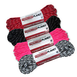 New 550 Paracord Parachute Cord Glow In Dark Tracers 10and039 - 25and039 - 50and039 - 100and039 Ft