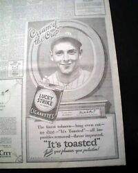 Waite Hoyt New York Yankees Pitcher Lucky Strike Cigarettes Ad 1928 Ny Newspaper
