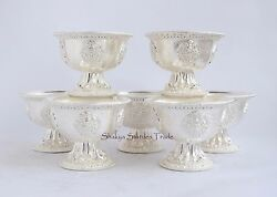 Pure Silver Finely Hand Carved 4.25 Tibetan Buddhist Offering Bowls / Tings Set