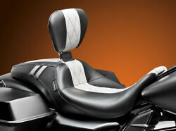 Le Pera Black White Outcast Gt Vinyl Seat And Backrest 08-19 Harley Touring Flhx