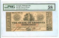 1865 Fifty Dollars Georgia,milledgeville Obsolete Curr.- Pmg-58 Choice Abo.unc.