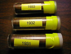 1931-p, 1932-p, 1933-p Lincoln Wheat Cent Roll Set, 150 Coins 3 Solid Date Rolls