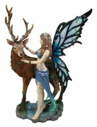 Butterfly Fairy With Stag Figurine Enchanted Forest Faerie Avalon And Emperor Deer