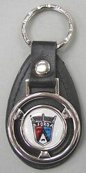 White Ford 50's Mini Steering Wheel Leather 1950's Key Ring Crown Victoria