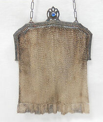WHITING & DAVIS CO. - Silver Tone Metal Mesh Small Purse with Detailed Frame