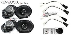 Kenwood KFC-X683C 6X8 Speakers With Wiring Harness Fits Ford 2 Pairs 60Watt Rms