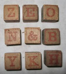 9 Antique Childs Childrens Wooden Alphabet Picture Blocks Victorian O2 As Is 6