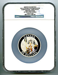 2013 Canada 5 Ounce Silver Ngc Pf70 Proof Queenand039s Coronation 60th Anniversary Fr