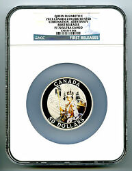 2013 Canada 5 Ounce Silver Ngc Pf70 Proof Queen's Coronation 60th Anniversary Fr