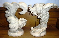 Pair Lachenal France Pottery Fighting Cocks Rooster Statues