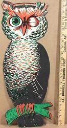 1940-50s H E Luhrs Die Cut Halloween Hanging Winking Color Owl 22andrdquo Tall