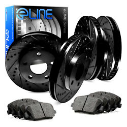 Front,Rear Eline Series Black Drilled  Slotted Brake Rotors + Ceramic Pads A496