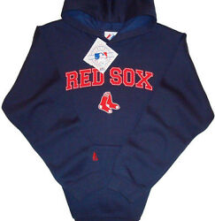 Boston Red Sox Majestic Youth Mlb Double Play Pullover Hoodie Small - Navy Blue