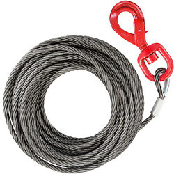Vevor Wire Rope Winch Cable 3/8 X 100and039 Steel Core Self Locking Swivel Hook