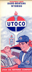 Vintage Utoco Map For Idaho Montana And Wyoming Road Map Early 1960's