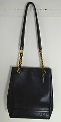 AUTHENTIC CHANEL BLACK CAVIAR LARGE LEATHER BUCKET BAG  PP509