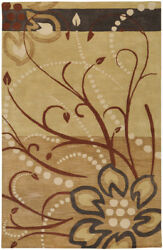 10x14 Surya Handmade Wool Beige Leaf 5006 Area Rug - Approx 10and039 X 14and039