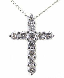 1.32 Ct Diamond Cross Pendant 14 Kt White Gold With 16 Inch Chain