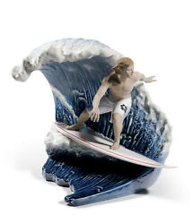 Lladro Limited Ed Riding The Big One 8595 Brand Nib Surfer Wave Large Save F/s