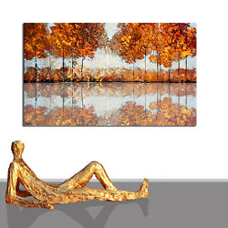 Painting Abstract Contemporary Art Landscape River Artwork Canvas 55 X 27