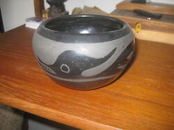 San Ildefonso Pueblo Black Clay Bowl Tewa 1940s 4.5 By 4 Coyote Pottery Native