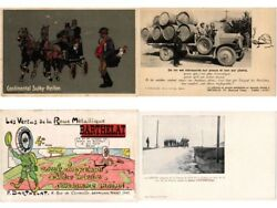 Advertising Tires, Car And Motor Oil Incl. Continental, 9 Vintage Postcards