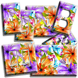 FLORAL LILIES PURPLE ORANGE LILY FLOWERS LIGHT SWITCH OUTLET ROOM HOME ART DECOR