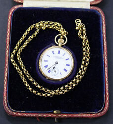 Antique Baume And Mercier Swiss C1910 Solid 18k Gold Pocket Watch + Box And Chain