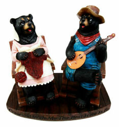 Large Country Bear Couple With Banjo And Knitting Figurine 8.5h Grow Old With Me