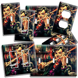 Sherlock Holmes Violin Benedict Cumberbatch Light Switch Outlet Wall Room Decor