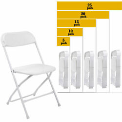 5 To 25 Pack Commercial Wedding Quality Stackable Plastic Folding Chairs White