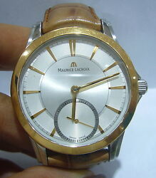 Pre Owned Maurice Lacroix Pt7518 18k Yellow Gold Bezel 44mm Watch