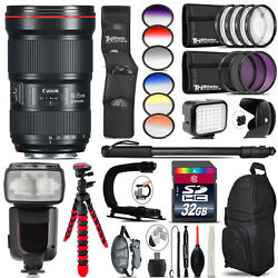 Canon 16-35mm 2.8l Iii Usm Lens + Pro Flash + Led Light - 32gb Accessory Bundle