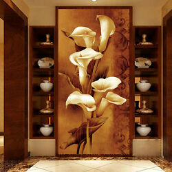 3D Dark Brown Charming Lily Wall Paper Wall Print Decal Wall Deco AJ WALLPAPER