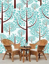 3D Lovely blue trees 5984 Wall Paper Wall Print Decal Wall Deco AJ WALLPAPER