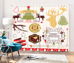 3d Christmas 80 Blockout Photo Curtain Printing Curtains Drapes Fabric Window Ca