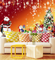 Mega 3d Father Christmas Gift Wall Paper Wall Print Decal Wall Deco Indoor Wall