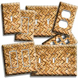 Rustic Wicker Weave Straw Pattern Light Switch Wall Plate Outlet Counry Style