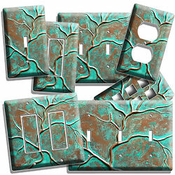 OLD RUSTED WORN OUT COPPER GREEN BRONZE PATINA LIGHT SWITCH WALL PLATE OUTLET