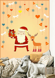 3d Father Christmas And Deer 2 Wall Paper Wall Print Decal Wall Deco Indoor Wall