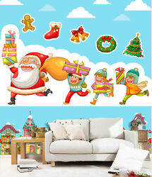 3d Children Father Christmas 2 Wall Paper Wall Print Decal Wall Deco Indoor Wall