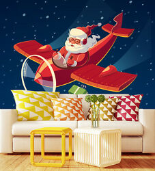 3d Father Christmas Take Plane Wall Paper Wall Print Decal Wall Deco Indoor Wall