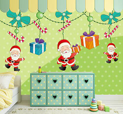 3d Father Christmas And Gift 6 Wall Paper Wall Print Decal Wall Deco Indoor Wall