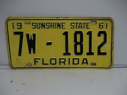 1961 61 Florida License Plate Tag 7w-1812 Orange County See My 1812 Collection